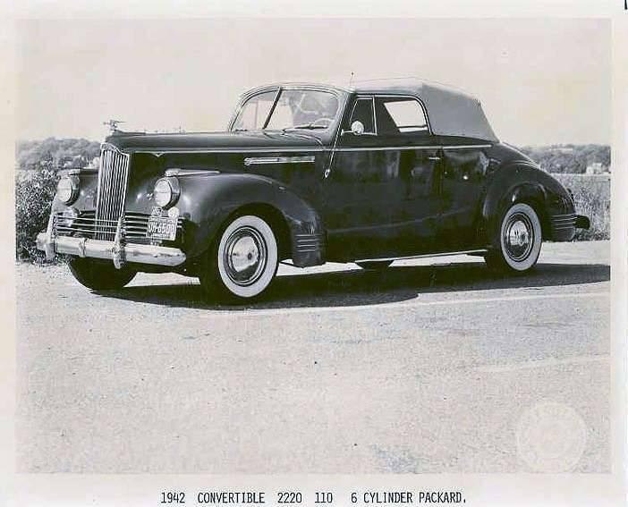 1942 PACKARD 110 SIX 2220 CONV PRESS PHOTO-B&W