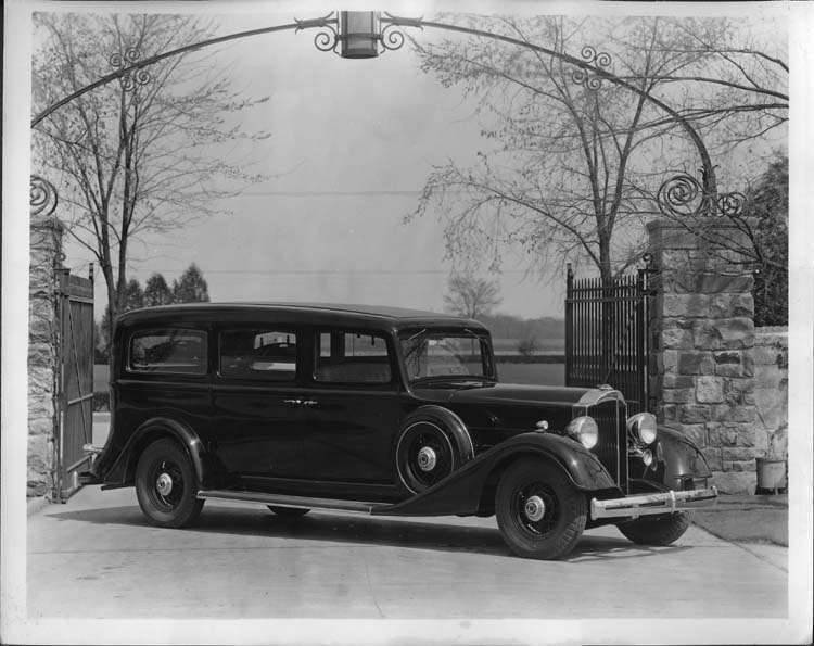 1934 PACKARD-HENNEY 1102 EIGHT FUNERAL COACH AT PROVING GROUNDS PRESS PHOTO-B&W