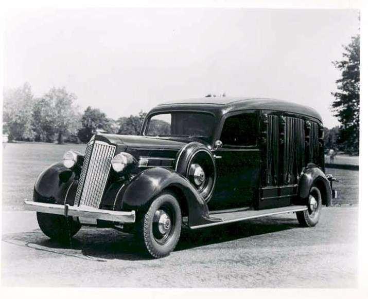 1935 PACKARD-CUNNINGHAM MODEL 361A HEARSE PRESS PHOTO-B&W