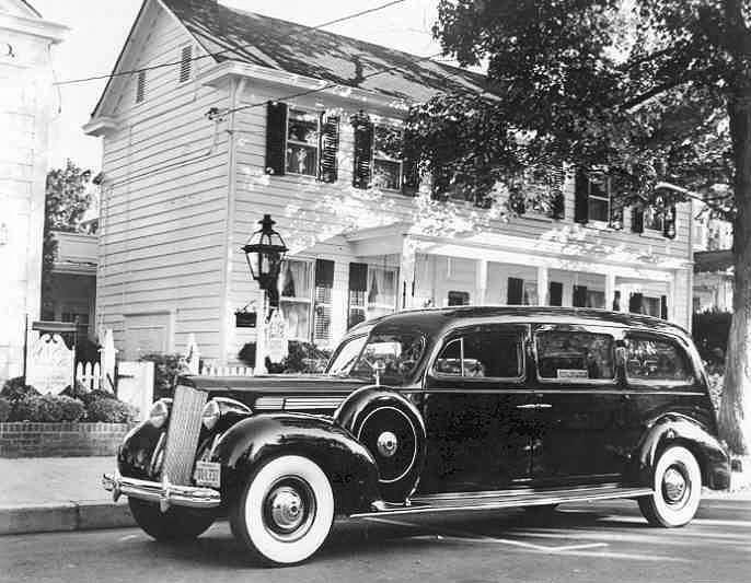 1938 PACKARD EIGHT HEARSE PRESS PHOTO-B&W