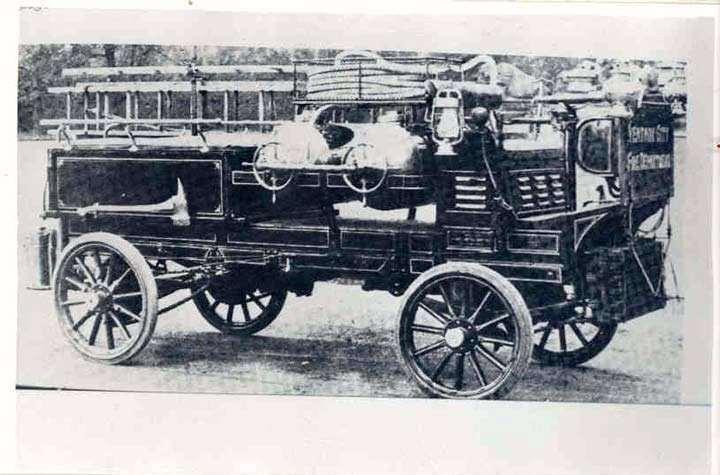 1907 PACKARD FIRE TRUCK VENTNER CITY, NJ-B&W