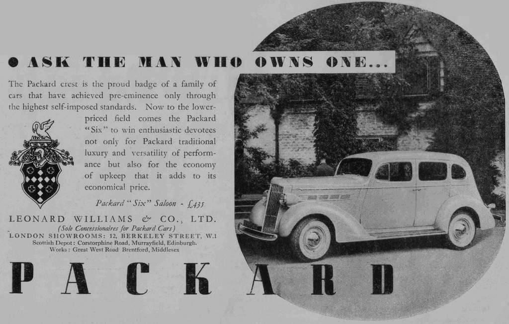 1937 PACKARD-ENGLAND ADVERT-B&W