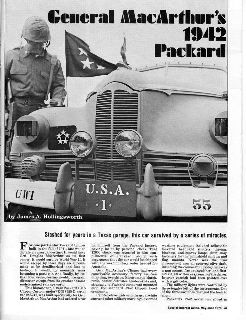 1942 PACKARD CLIPPER ARMY STAFF CAR ARTICLE-1