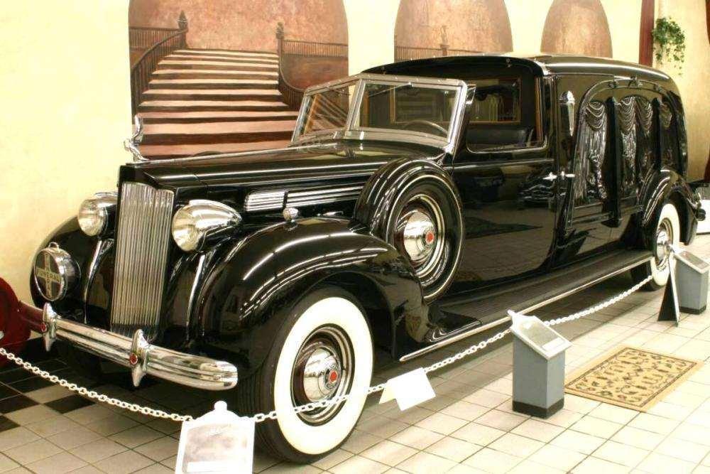 1938 PACKARD-MILLER CARVED WOOD TOWN CAR HEARSE-BLACK