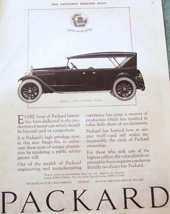 1922 PACKARD TOURING ADVERT-B&W