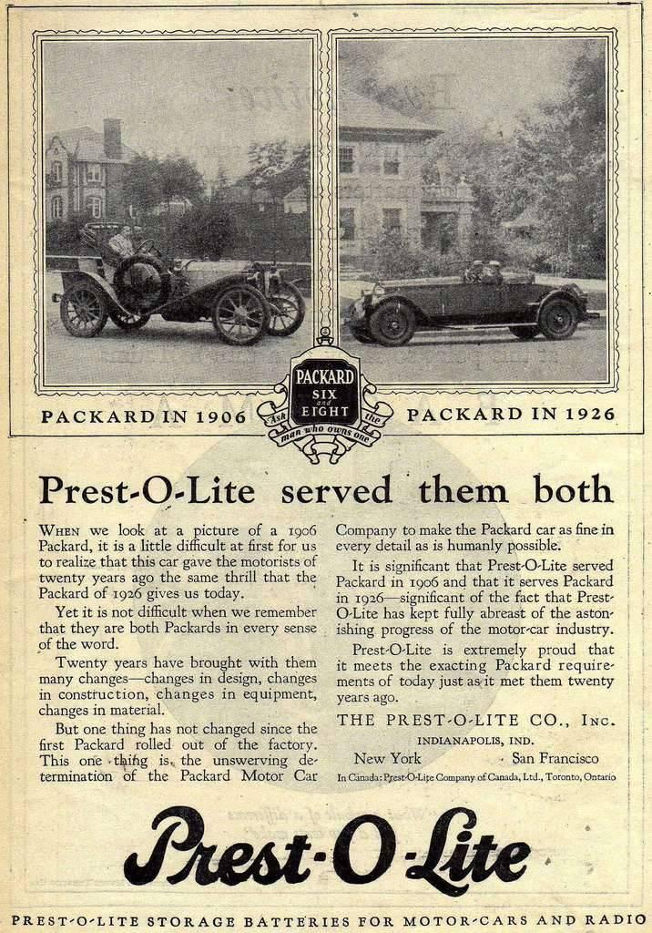 1926 PACKARD AND PREST-O-LITE ADVERT-B&W