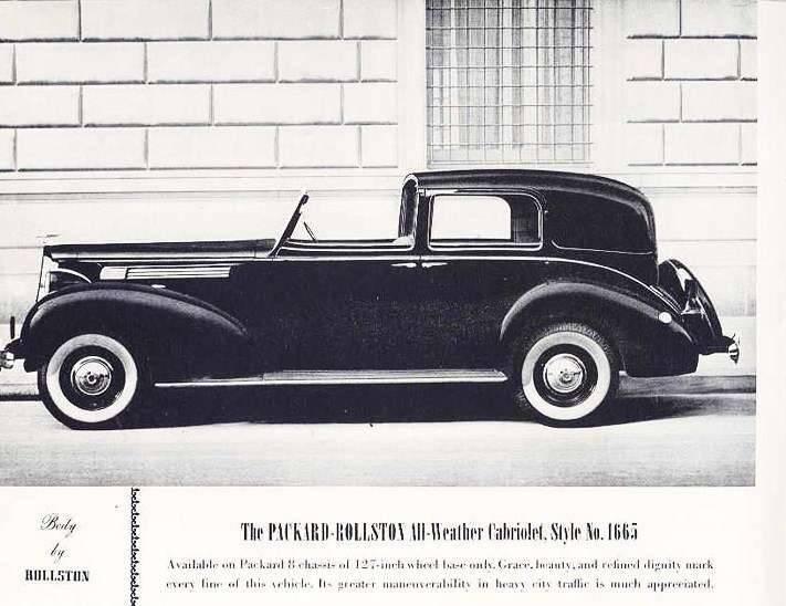 1938 PACKARD-ROLLSTON ALL-WEATHER CABRIOLET-B&W