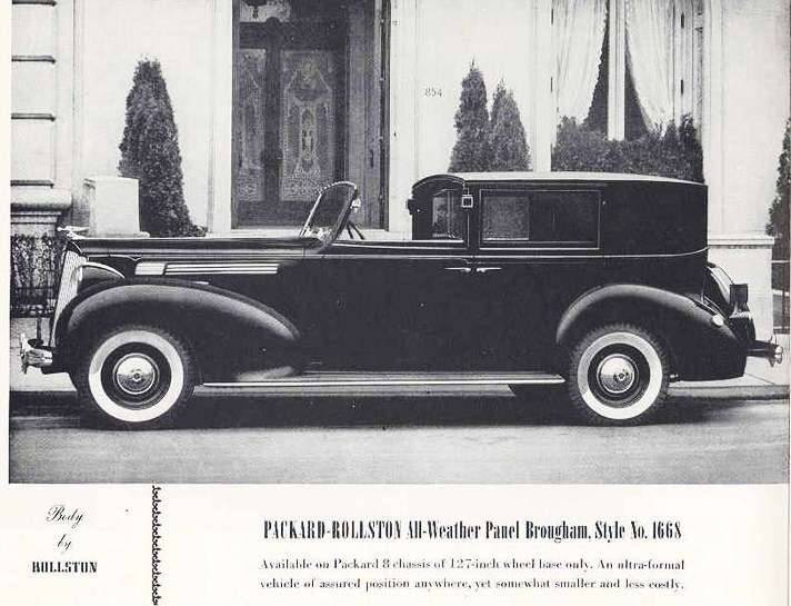 1938 PACKARD-ROLLSTON ALL-WEATHER PANEL BROUGHAM-B&W