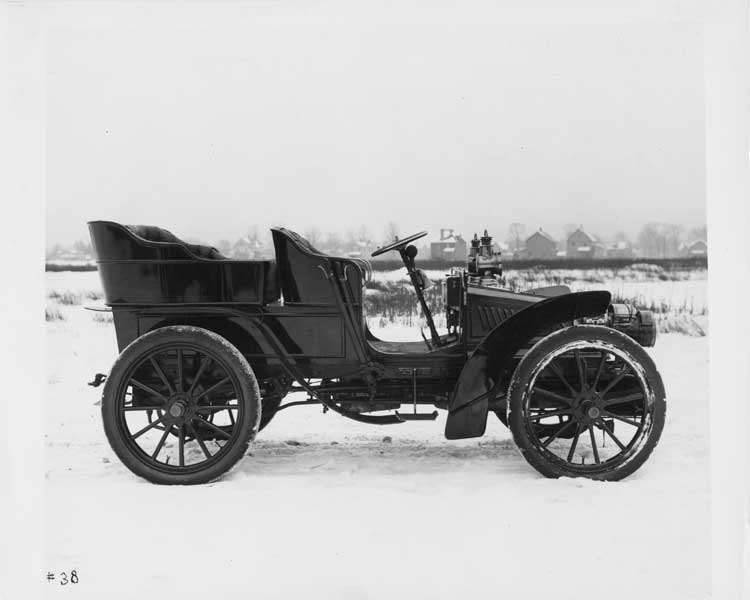 1903 Packard Model K on winter road