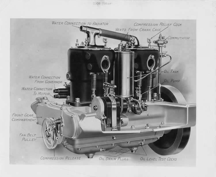 1908 Packard 30 Model UA engine diagram