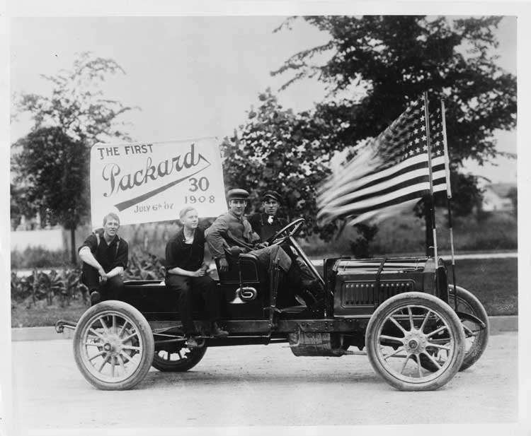 First 1908 Packard 30 Model UA, with four male passengers