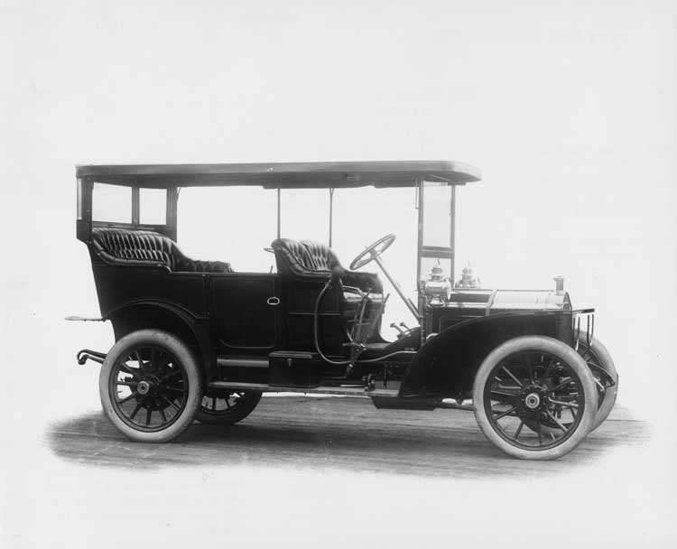 1908 Packard 30 Model UA touring car with canopy top, left side view