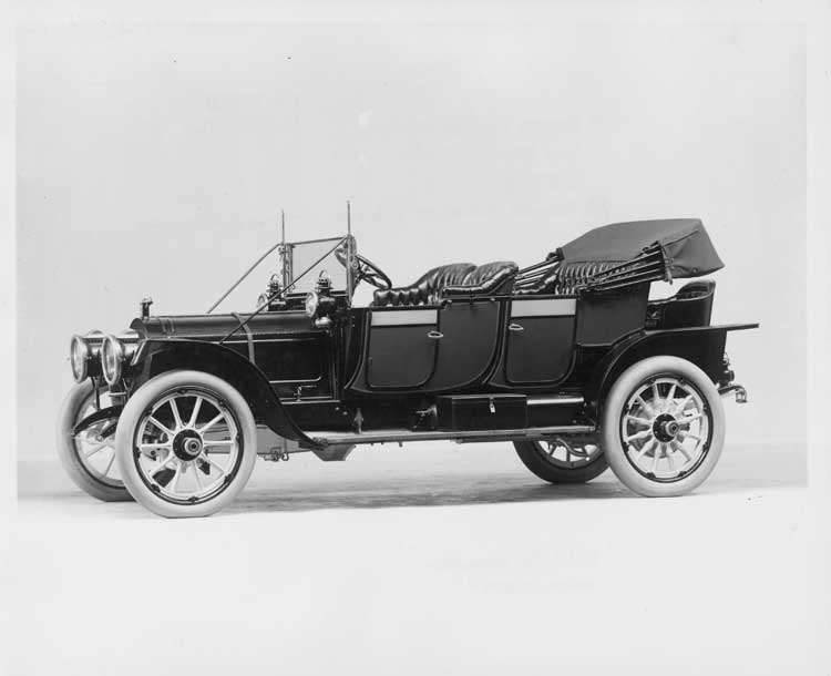 1912 Packard 6 close-coupled, left side, top lowered, with rumble seat