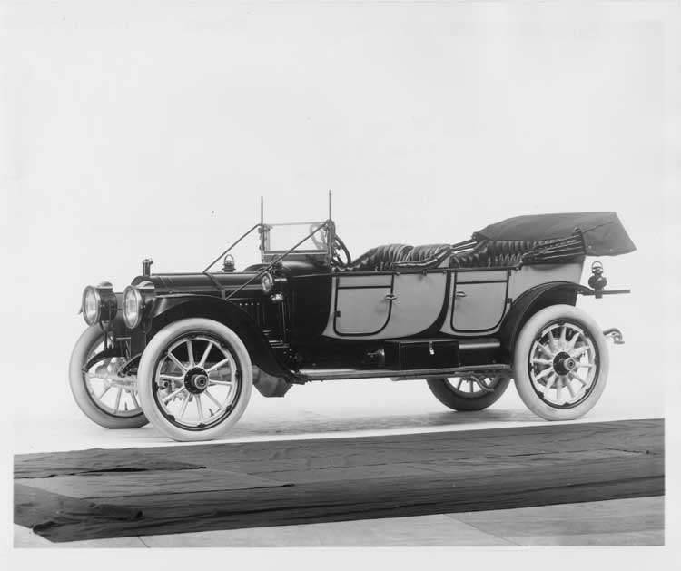 1912 Packard 30 Model UE two-toned phaeton, left side, top lowered