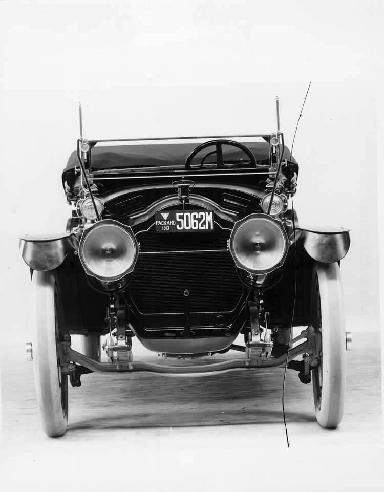 1913 Packard 38 phaeton, front detail, top folded