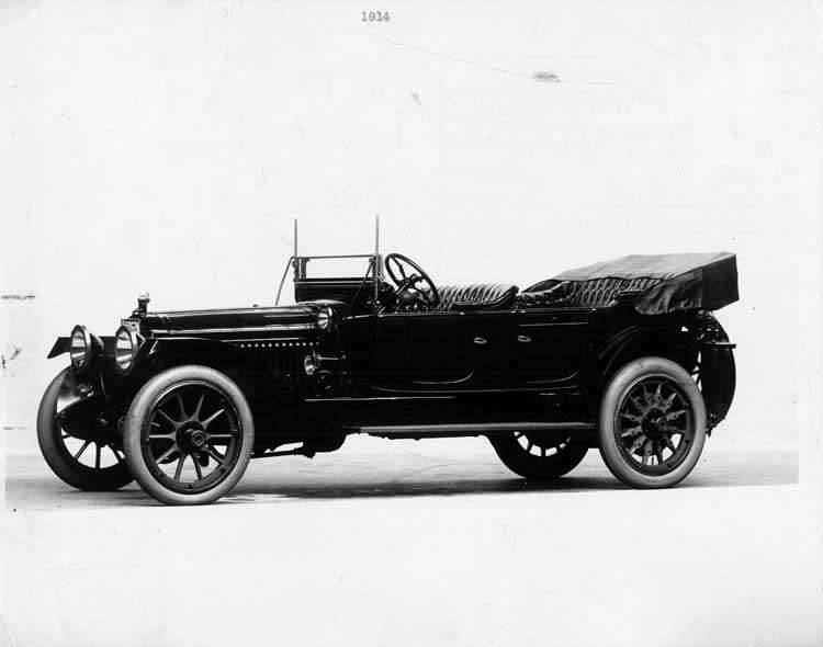 1914 Packard 48 phaeton, five-sixth front view, left side, top folded