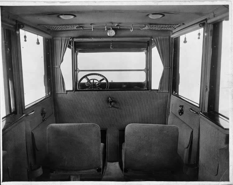 1917 Packard landaulet, rear interior, with folding forward auxiliary seats in place