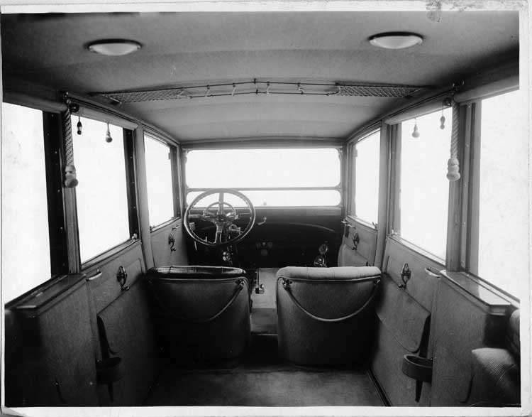 1917 Packard salon brougham, view of interior from rear seat