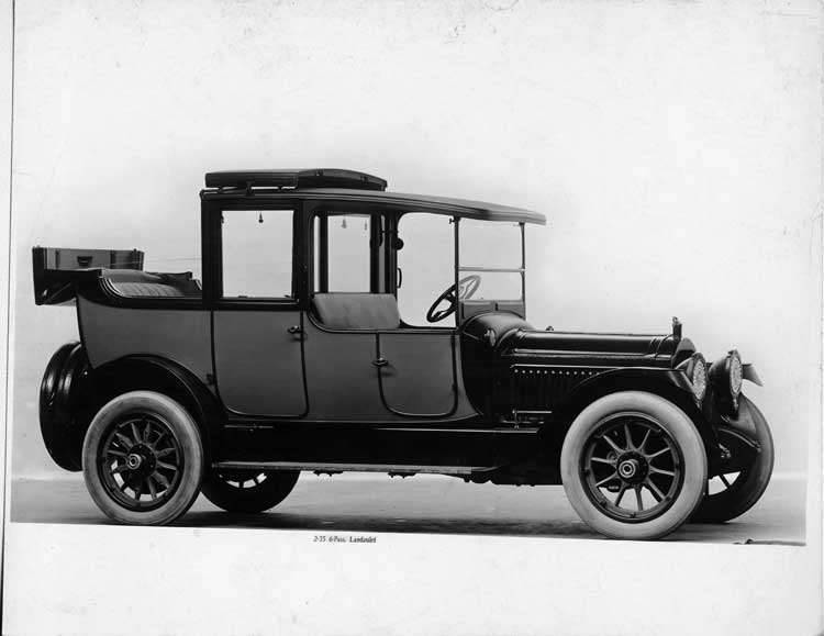 1917 Packard two-toned landaulet, back quarter collapsed, three-quarter right front view