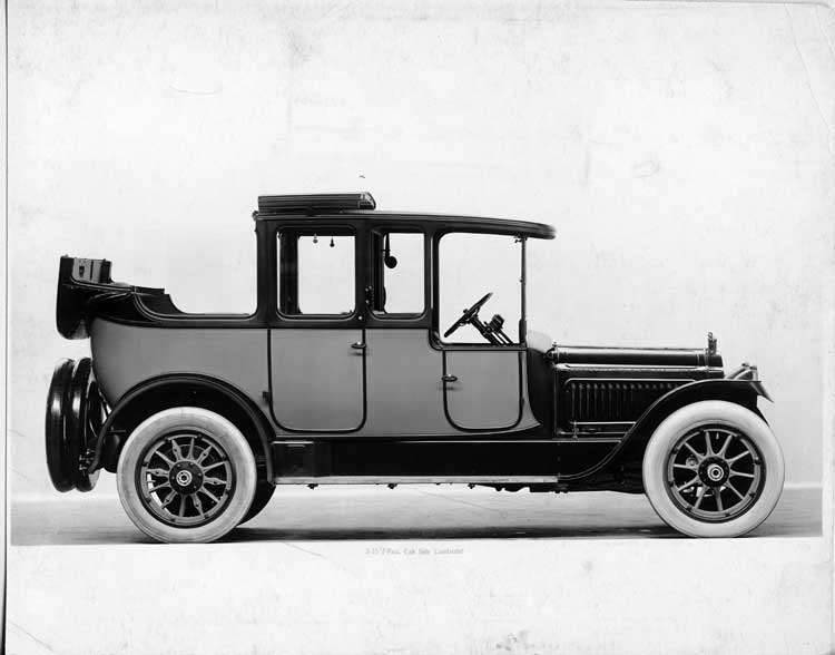 1917 Packard cab side two-toned landaulet, back quarter collapsed, right side view