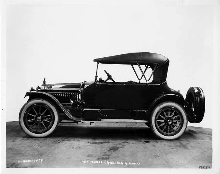 1917 Packard special body, left side view, top raised
