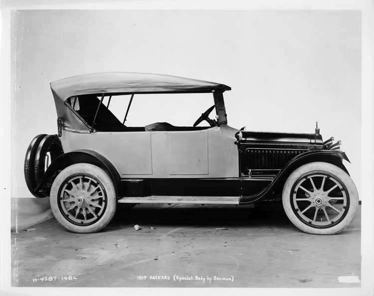 1917 Packard special body, right side view, top raised, light in color