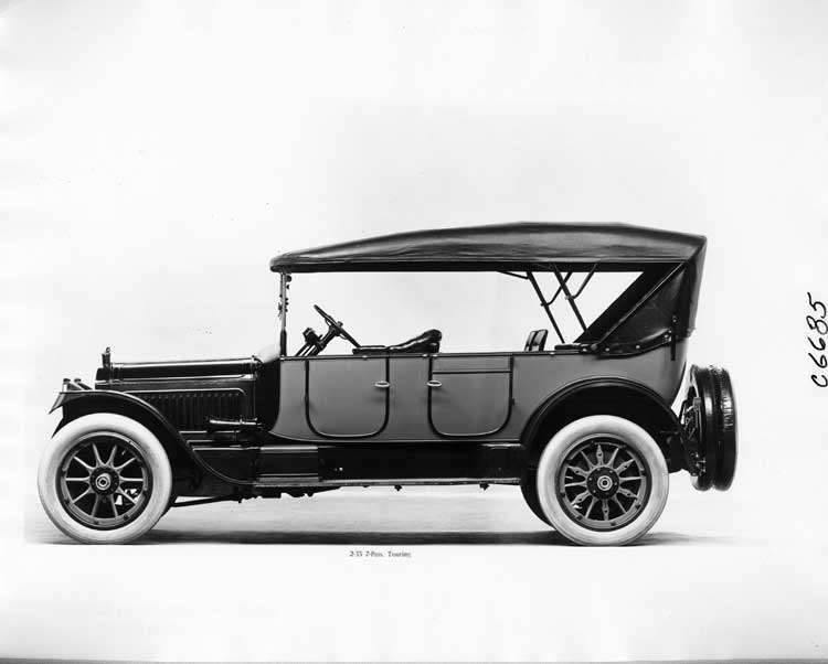 1917 Packard two-toned touring car, left side view, top raised