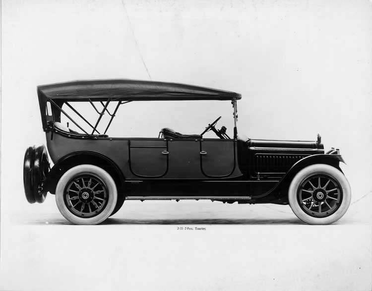 1917 Packard two-toned touring car, right side view, top raised
