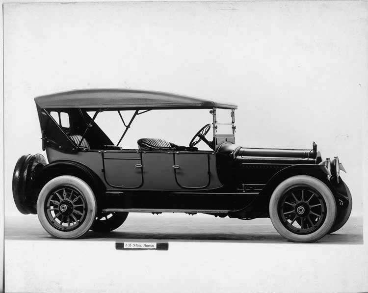 1917 Packard two-toned phaeton, seven-eights right front view, top raised