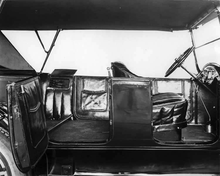 1918 Packard touring car, close up of leather interior, right side view with both doors open, top ra