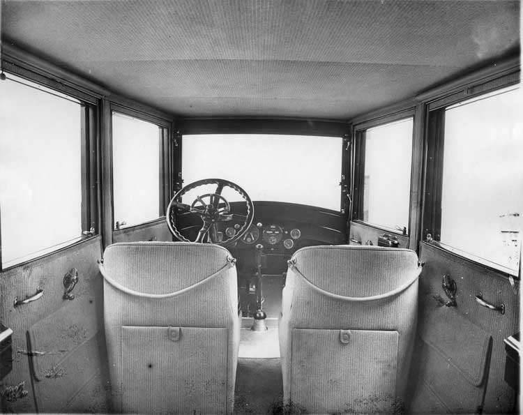 1918 Packard brougham, view of interior from back seat