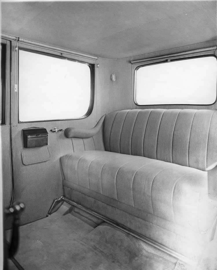 1918 Packard limousine, view of interior from right side passenger door