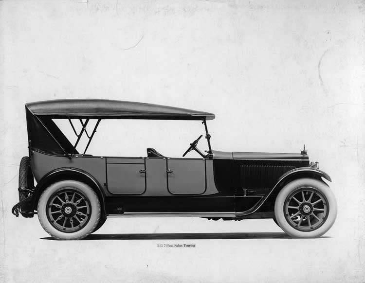 1918-1919 Packard two-toned salon touring car, left side view, top raised