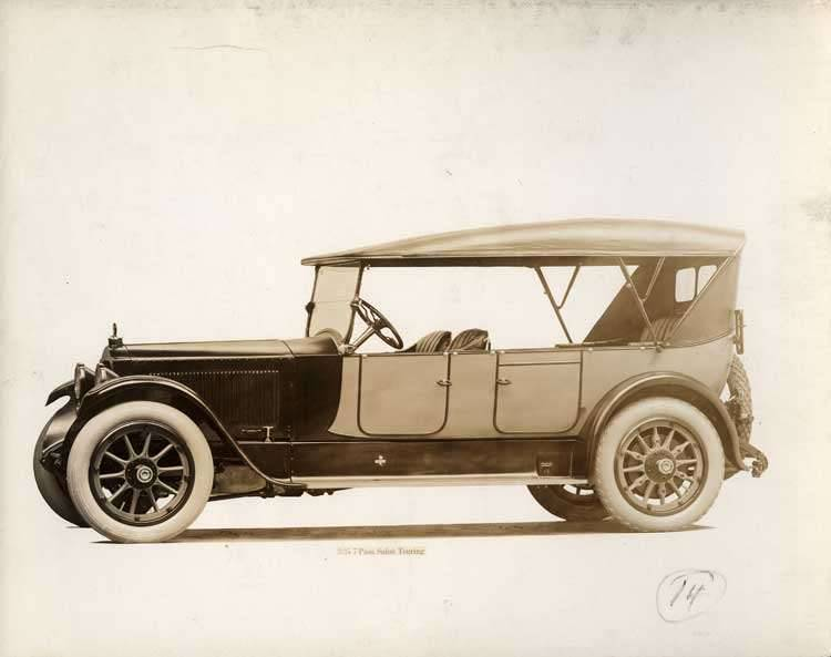 1918-1919 Packard two-toned salon touring car, nine-tenths left front view, top raised