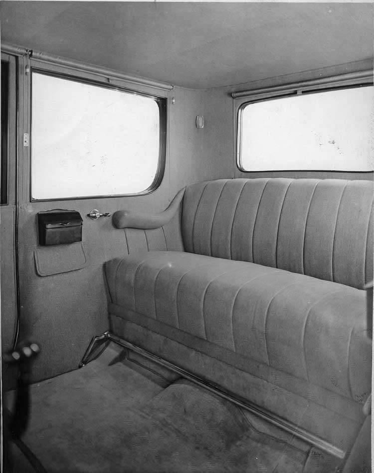 1918-1919 Packard limousine, view of rear interior through right rear door