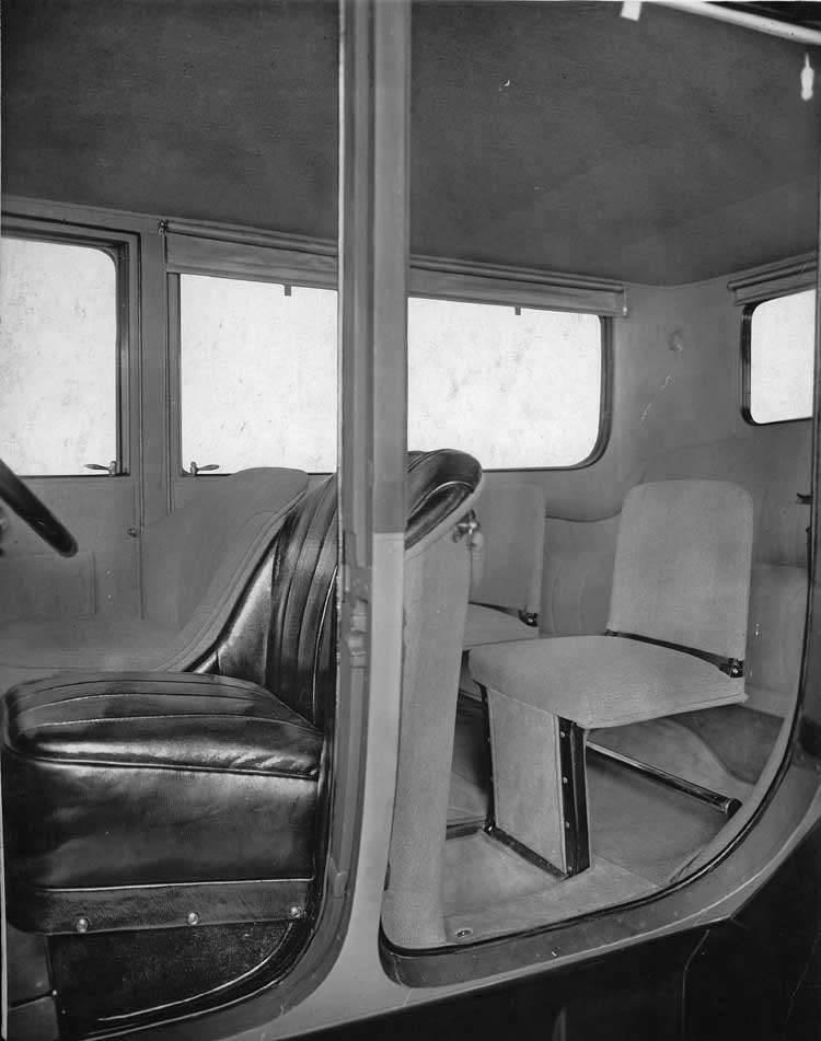 1918-1919 Packard brougham, left side doors open, interior visible