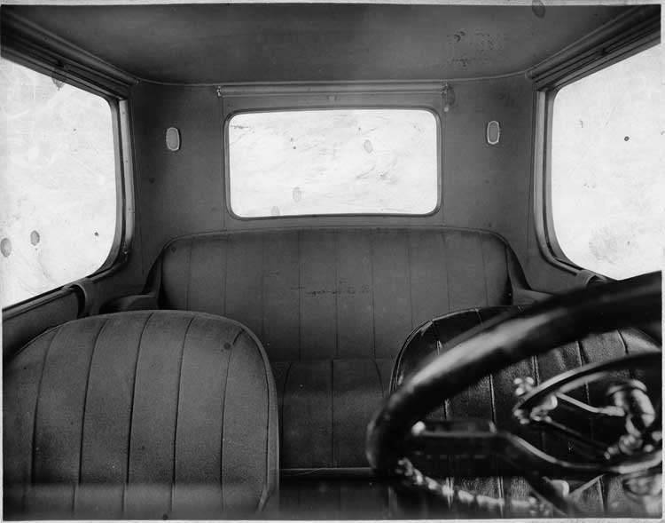 1918-1919 Packard coupe, view of interior through front windshield