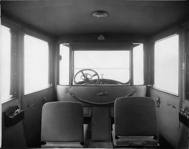 1919 Packard limousine, view of interior showing both forward-folding auxiliary seats