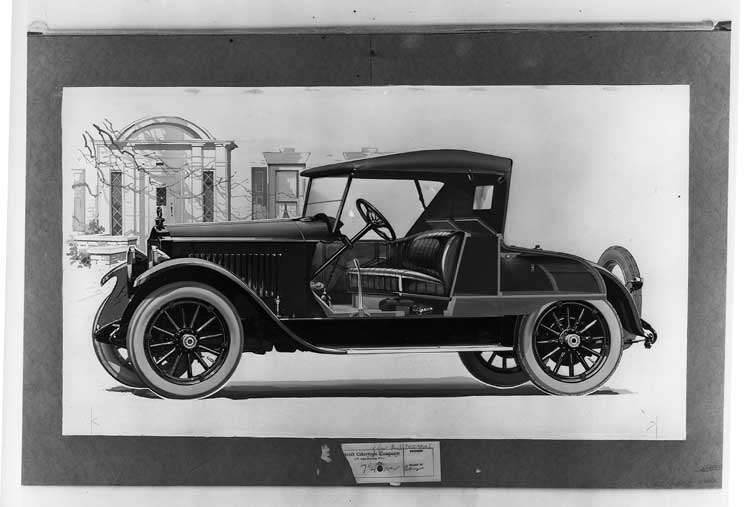 1920-1921 Packard runabout, seven-eights left front cut away view, top raised