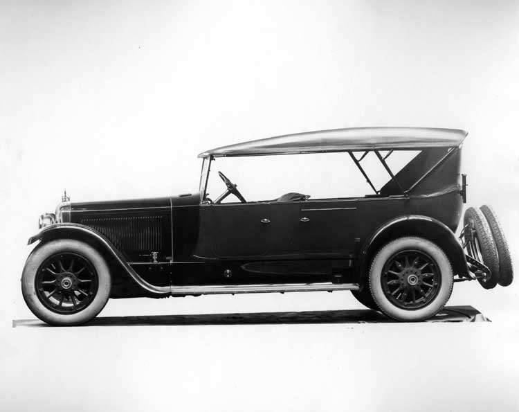 1922 Packard touring car, left side view, top raised