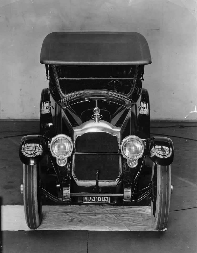 1922 Packard touring car, front elevation view, top raised
