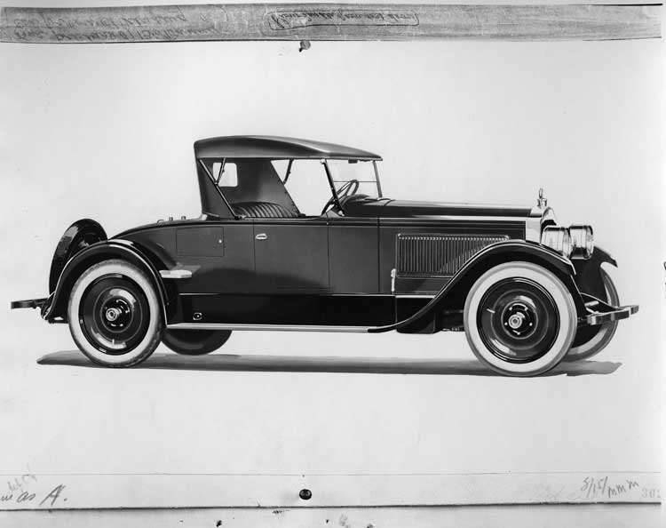 1923 Packard runabout, three-quarter right front view, top raised