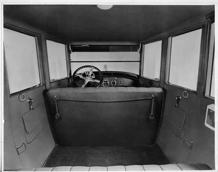 1924 Packard sedan, view of interior from rear seat