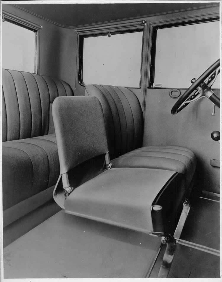 1924 Packard coupe, view of interior through right door showing folding auxiliary seat