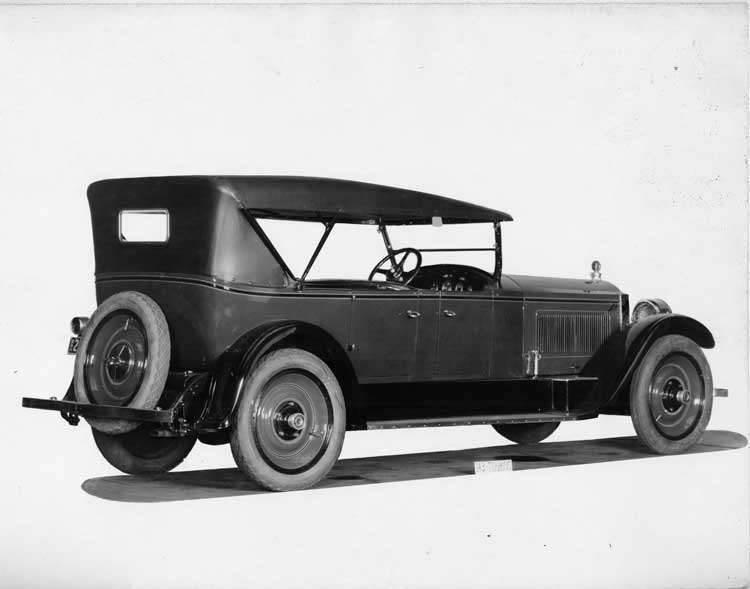 1924 Packard touring car, three-quarter left rear view, top raised