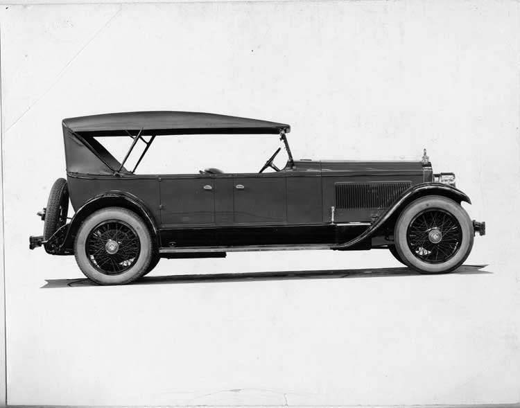 1924 Packard touring car, right side view, top raised