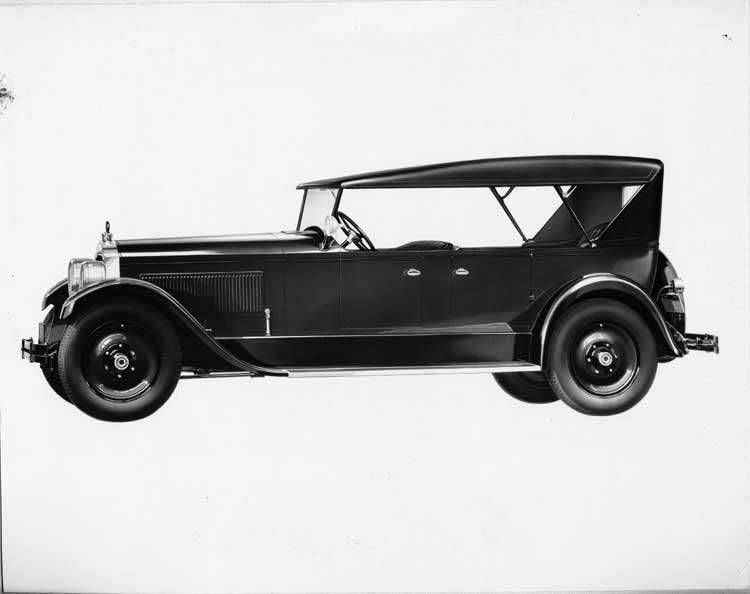 1925-1926 Packard touring car, left nine-tenths side front view, top raised