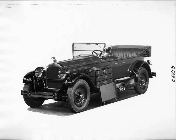 1925 Packard touring car, storage pieces displayed open on running board