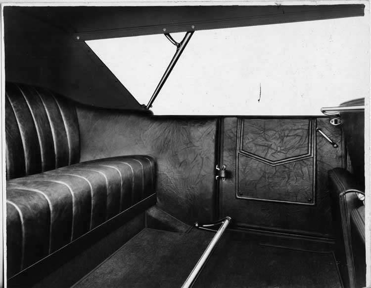 1925-1926 Packard touring car, view of rear interior, top raised
