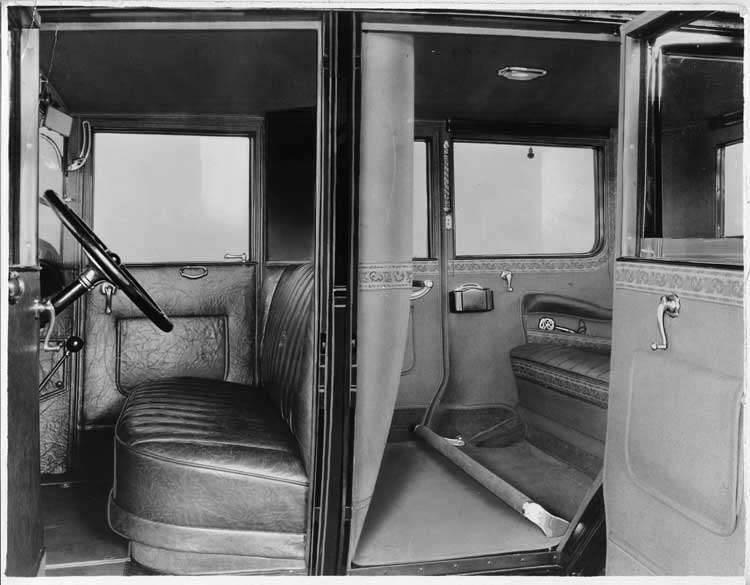 1925-1926 Packard sedan limousine, interior view through left side doors